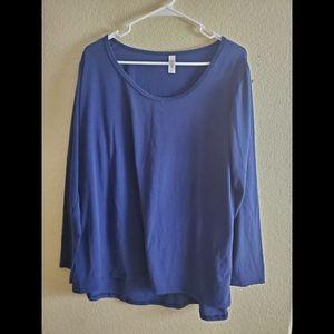 Lularoe 2X Blue Long Sleeve Knit Blouse Top Shirt
